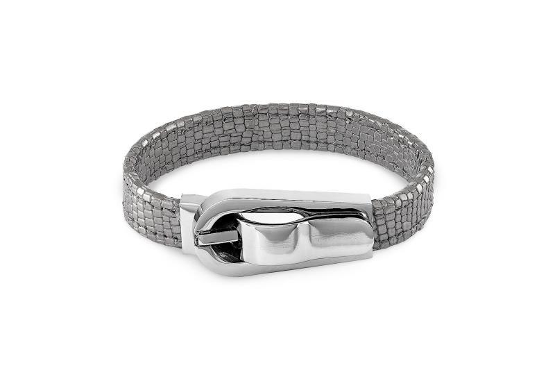 Náramok QUDO Milano silver šedo strieborná metalická hadí vzor