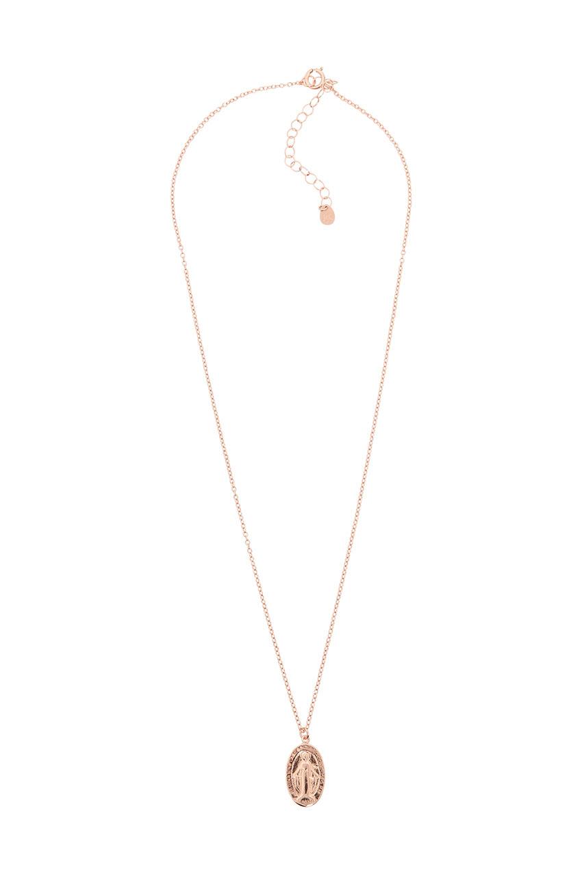 Náhrdelník MARIESY, ružovozlatá retiazka s príveskom - Madona