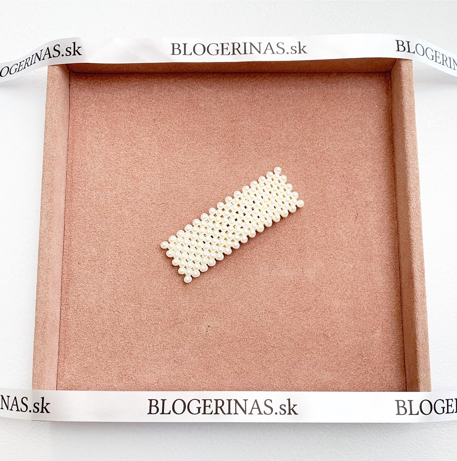 Sponka s perličkami - ručná výroba - Made in Greece