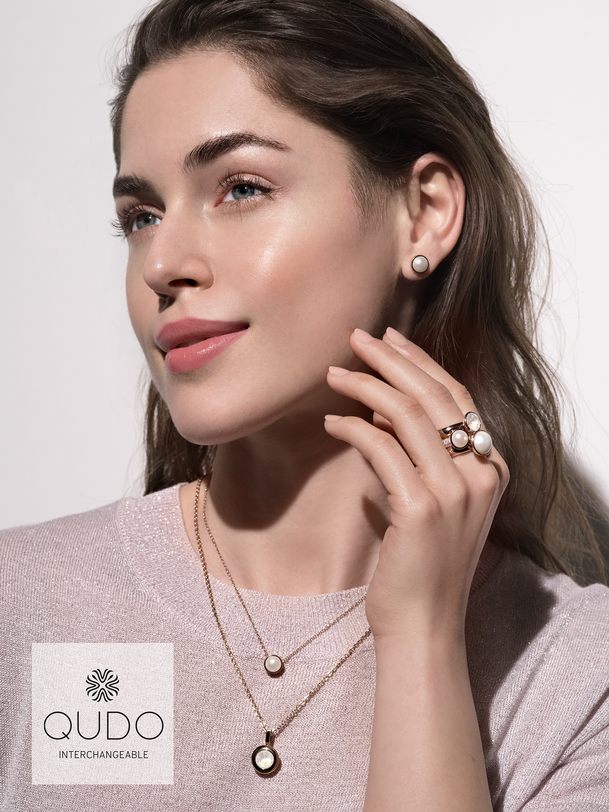 Náušnice QUDO, CANINO zlaté - krémová perla