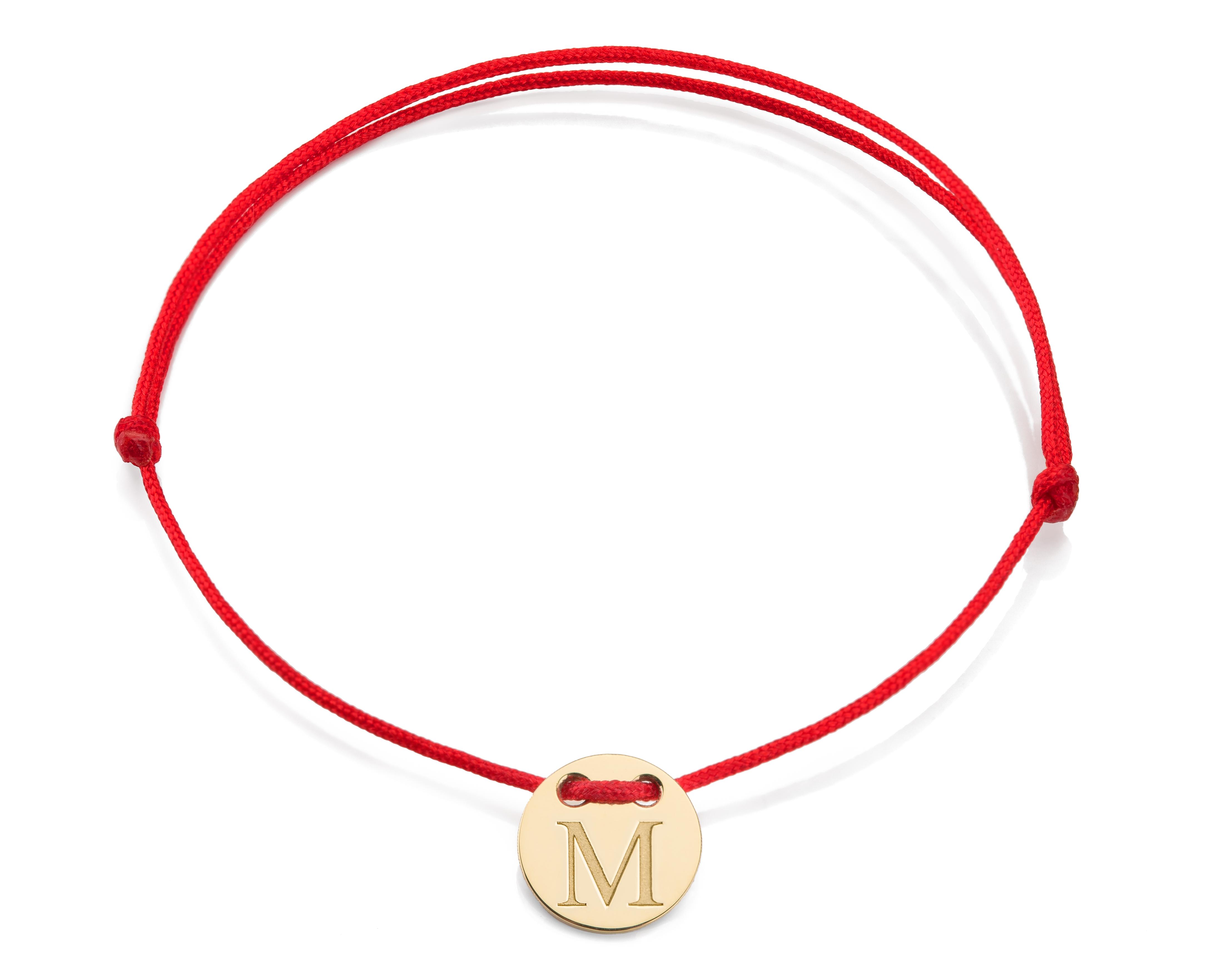 Červená šnúrka, 14kt zlato, Iniciál M