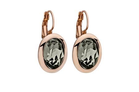 Náušnice QUDO, TIVOLA classic - ružovozlaté - čierny diamant