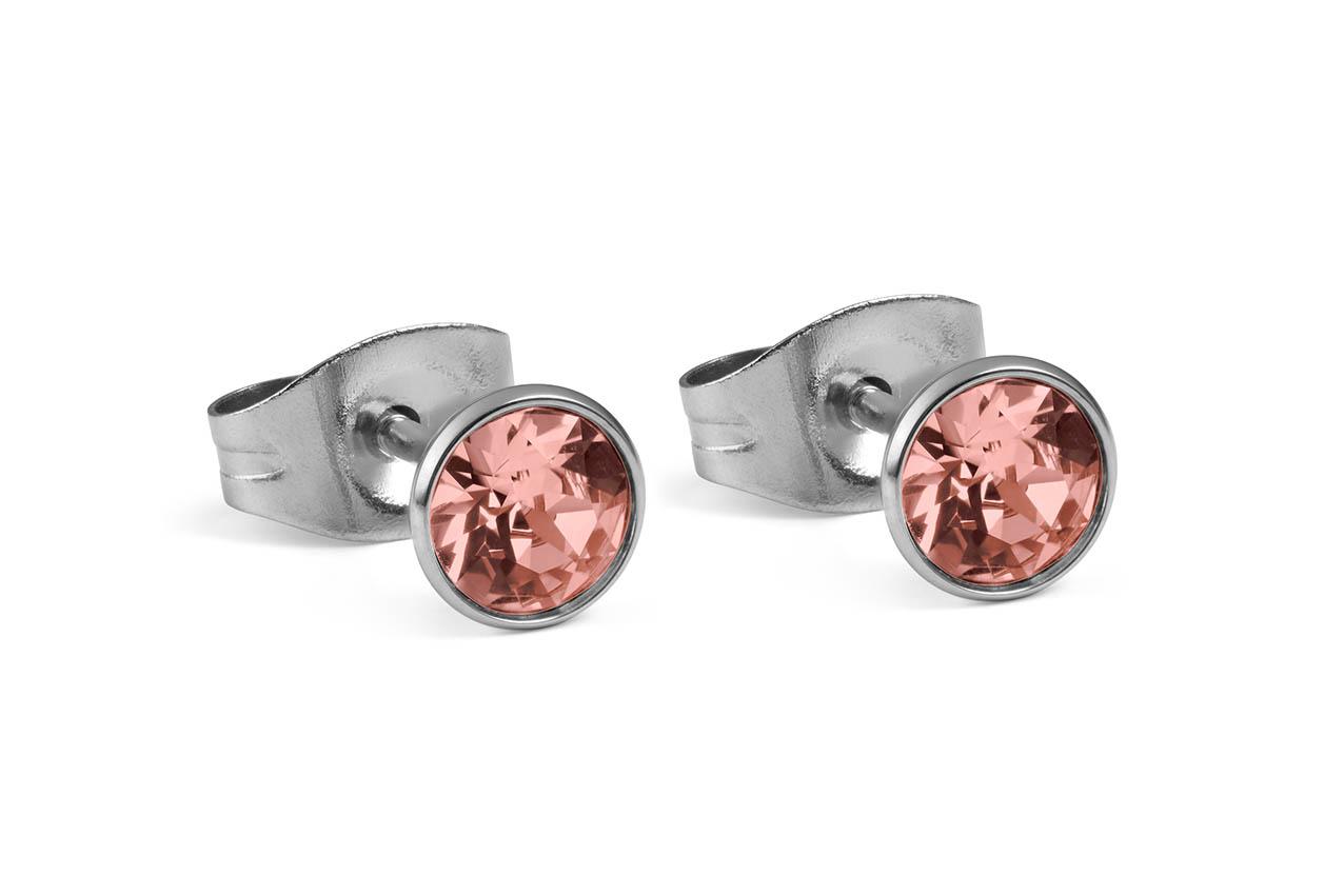 d9fd5f2d6 Náušnice QUDO, BOTTONE strieborné - Swarovski kryštáľ ružová broskyňa