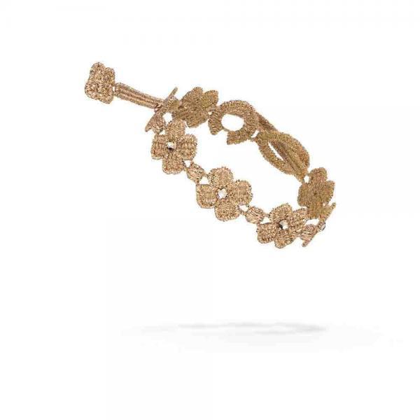 Náramok CRUCIANI Swarovski štvorlístok pre šťastie lesklá zlatá sandalwood