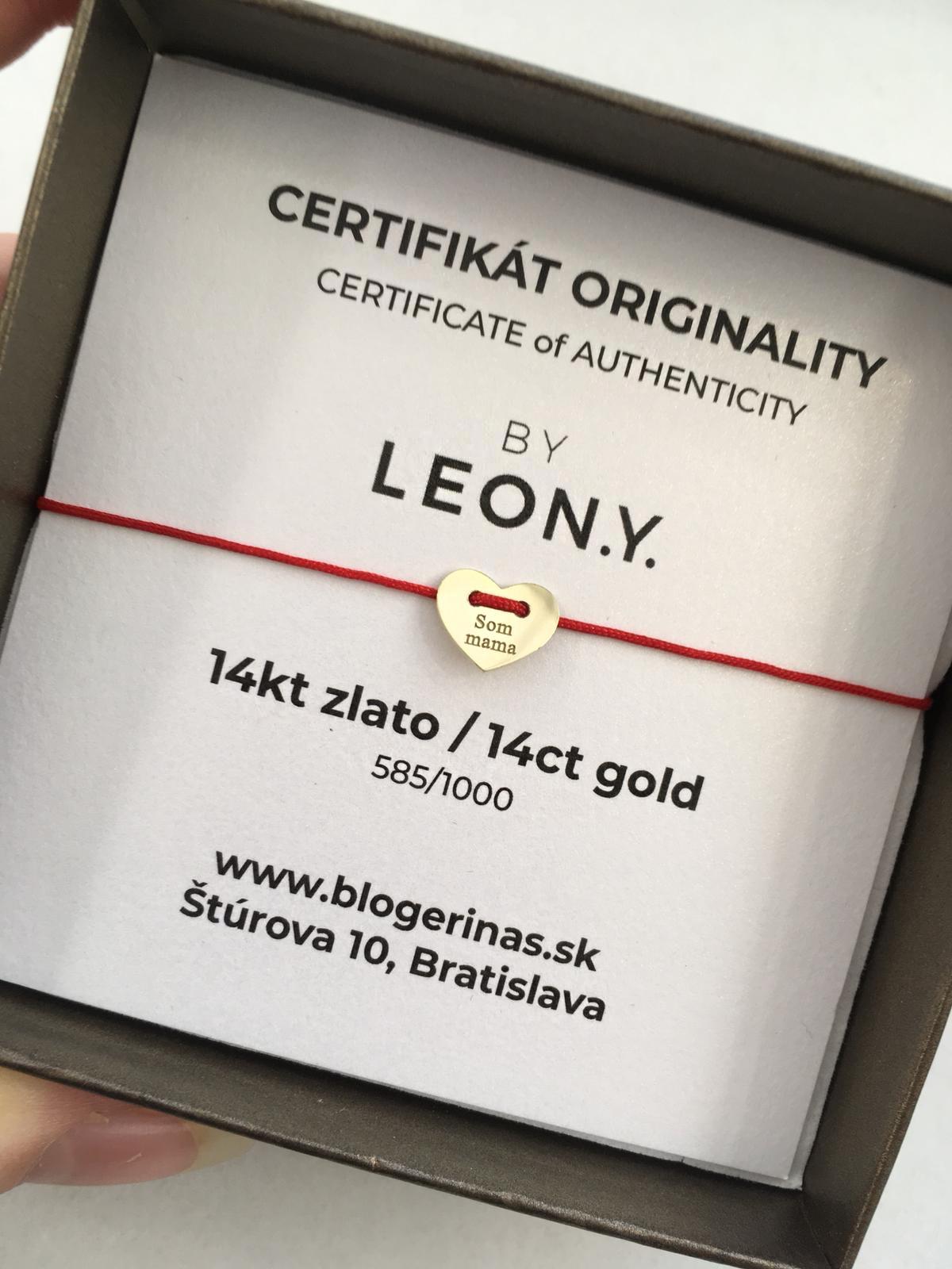 Náramok BY LEON.Y. 14 kt zlato, KRÍŽIK