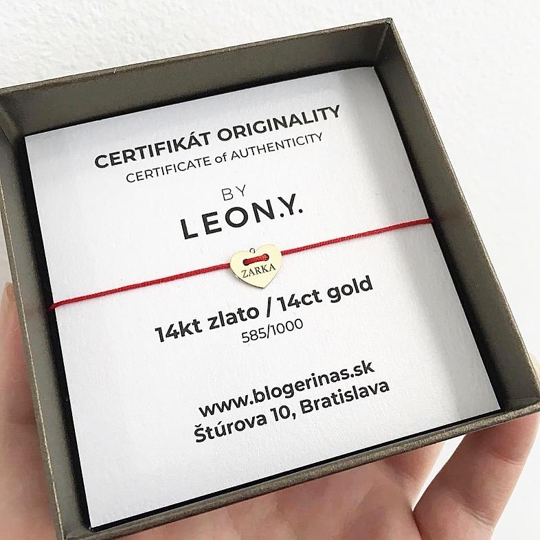Náramok BY LEON.Y. 14kt zlato, Dve srdcia - č.3