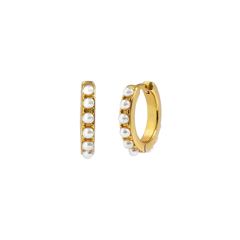 Náušnice ALE Y OLÉ - CAMELIA GOLD - striebro 925 s 18kt pozlátením a perlami