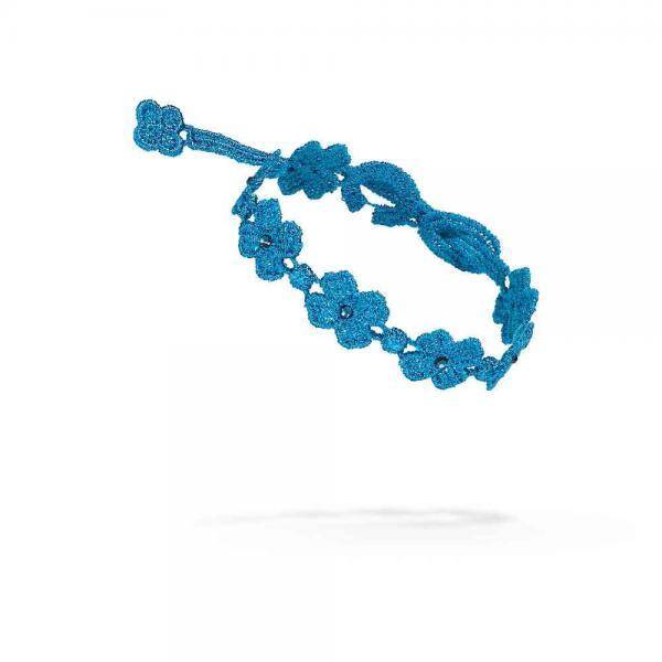 Náramok CRUCIANI Swarovski Black Tie štvorlístok pre šťastie modrá