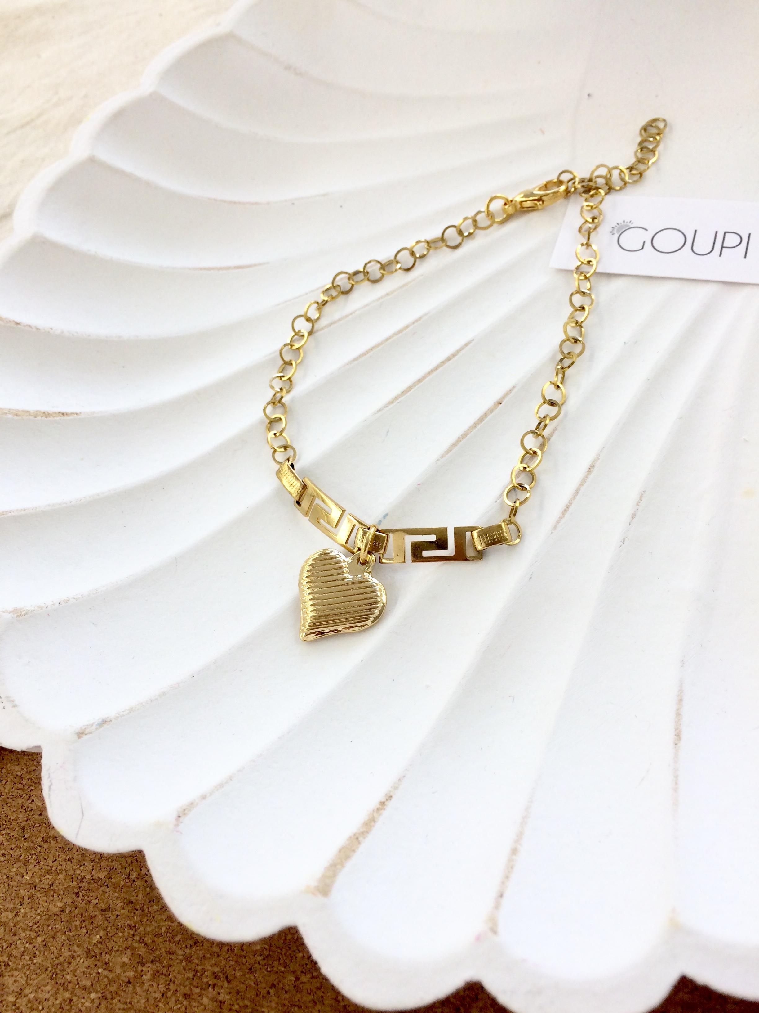 Náhrdelník na nohu GOUPI - GOLD HEART