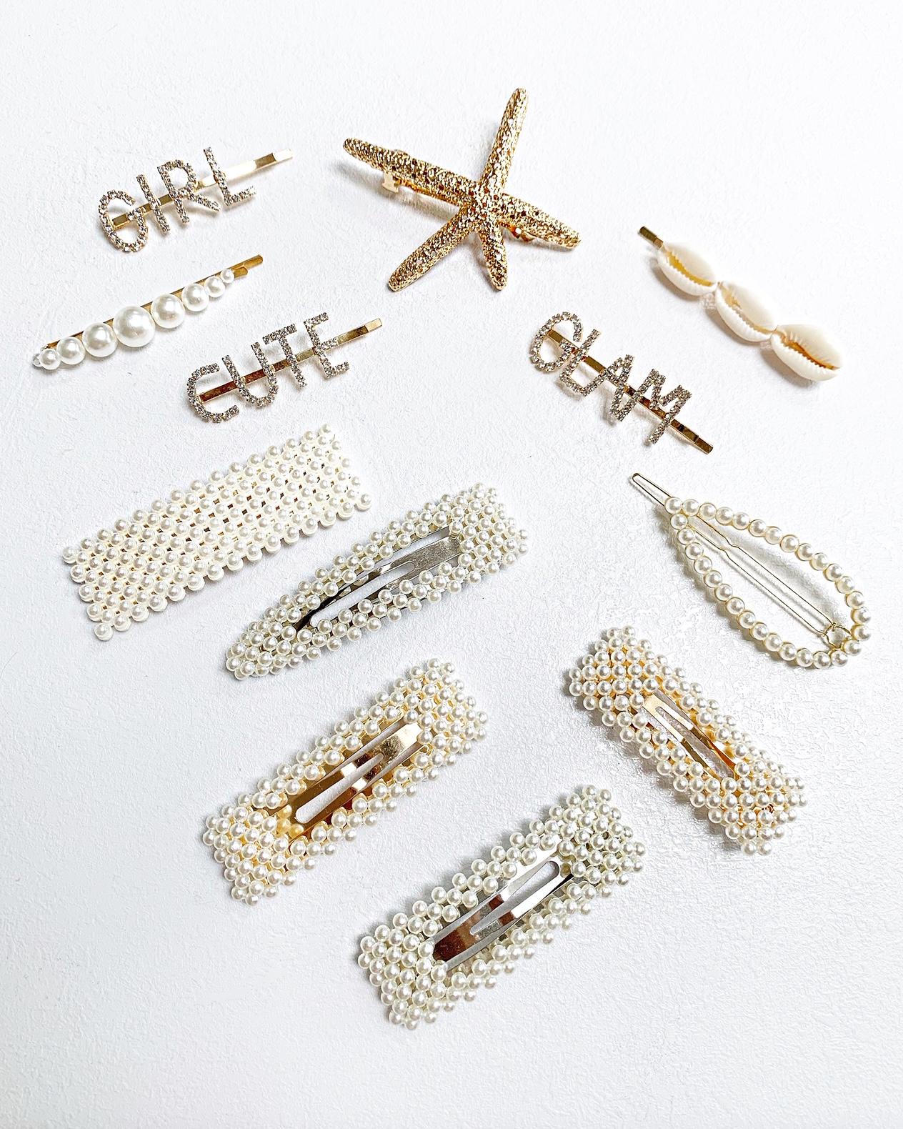 Sponka do vlasov, zlatá s malými perličkami