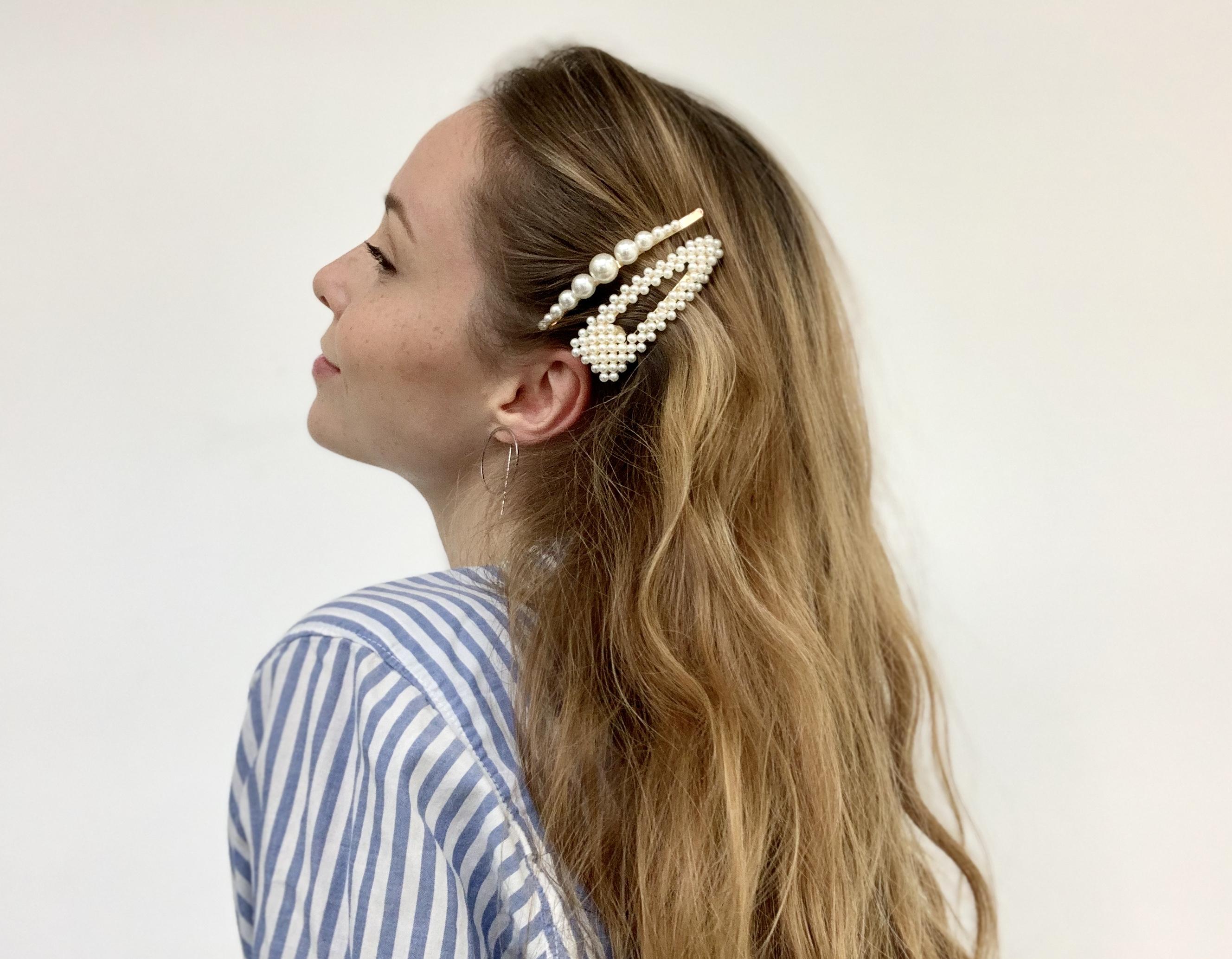 Sponka s perličkami - Made in Greece - ručná výroba