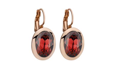 Náušnice QUDO, TIVOLA classic - ružovozlaté - červená