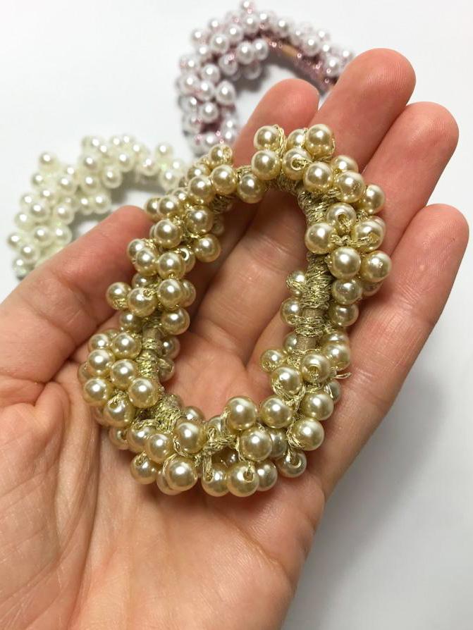 Perličková gumička do vlasov-GOLD