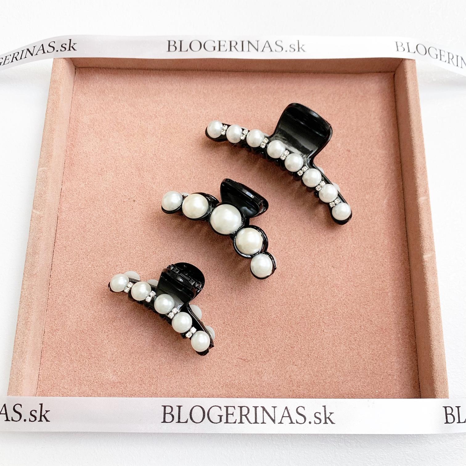 Spony do vlasov, s perličkami a Swarovski krištáliky, ručná výroba - MADE IN GREECE