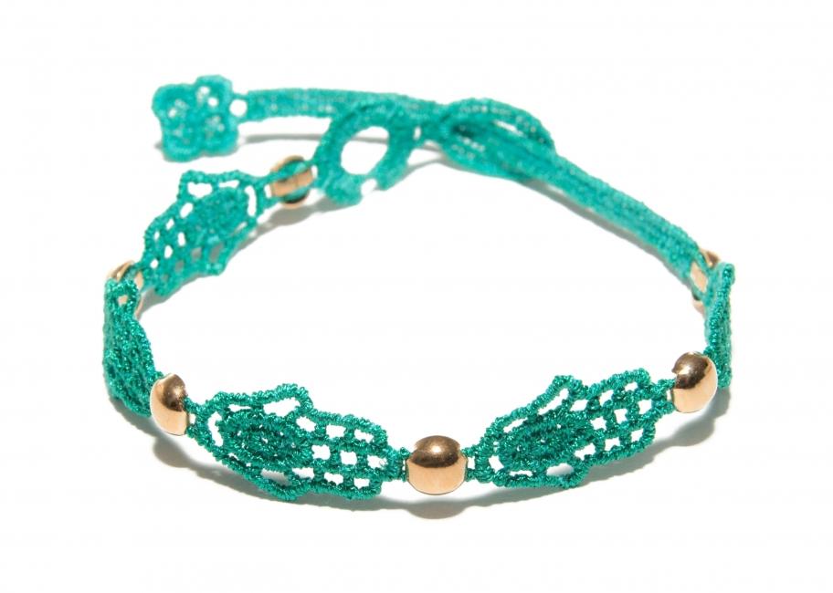 Náramok CRUCIANI Ruka Fatimy limitovaná kolekcia 750/1000 so zlatom smaragdová zelená
