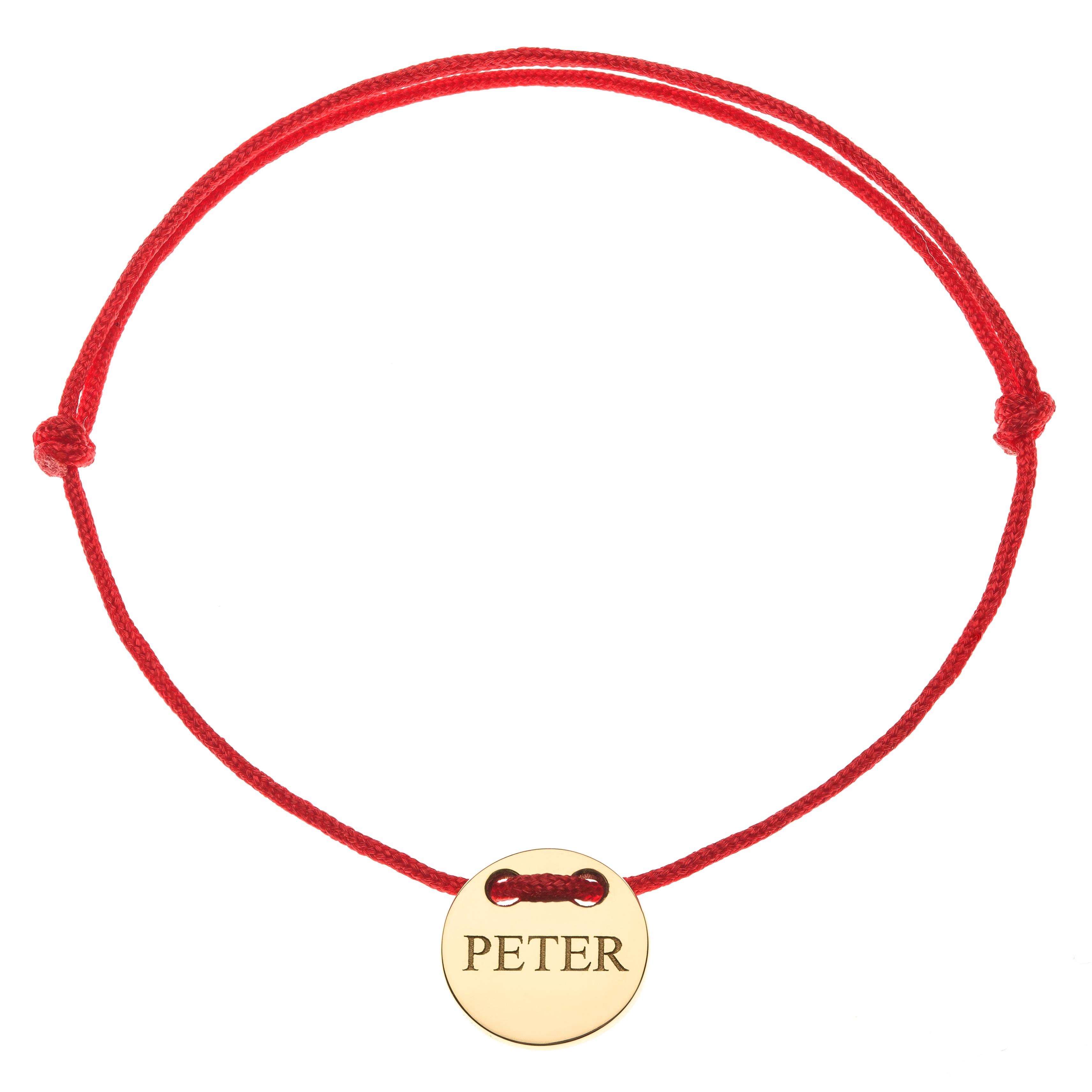 Červená šnúrka, 14kt zlato, Peter - detský, dámsky aj pánsky