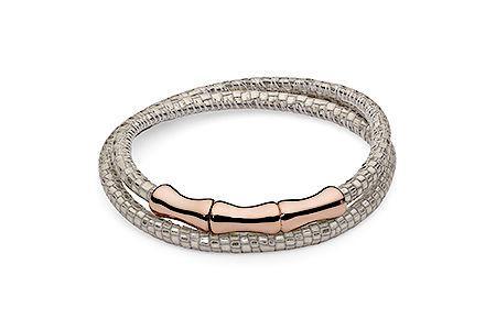 Náramok Qudo Bones rose gold metalická svetlá strieborná s hadím vzorom