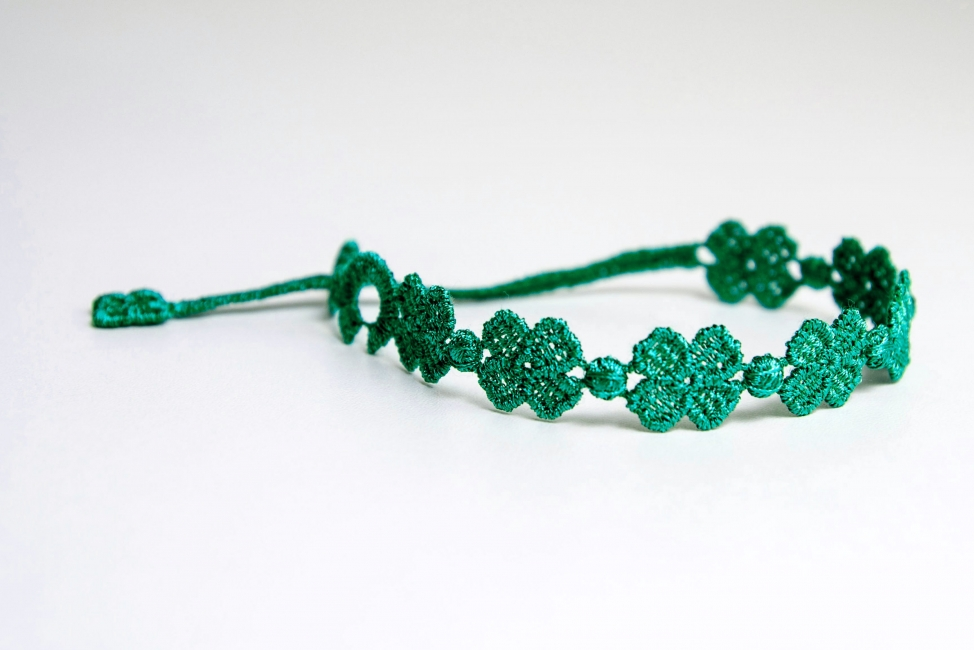Náramok CRUCIANI Štvorlístok smaragdovo zelená