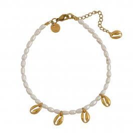 Náramok na nohu MAYOL, riečné perly s 24kt pozlátenými mini mušličkami - Souvenirs