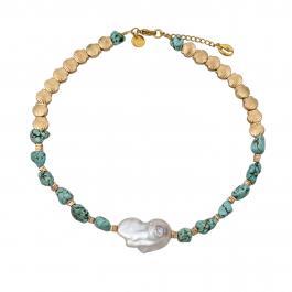 Náhrdelník MAYOL, perlou a tyrkysom s 24kt pozlátením, La Isla Bonita