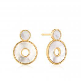 Náušnice ANIA HAIE- MOTHER OF PEARL - striebro 925 pozlátené 14 zlatom 585 a pravou perleťou