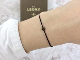 Náramok BY LEON.Y. čierny - Hematit mini Srdiečko - Bronze