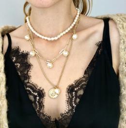 Náhrdelník viacradový perlový