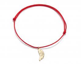 Červená šnúrka, 14kt zlato, Anjelské krídlo
