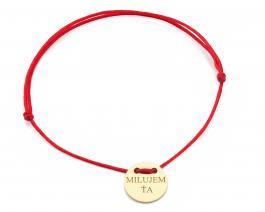 Červená šnúrka, 14kt zlato, Milujem ťa