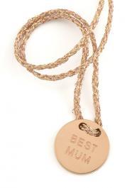 Náramok MARIESY, lesklá zlatá šnúrka s ružovozlatým medailónom BEST MUM