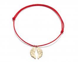 Červená šnúrka, 14kt zlato, Anjelské krídla