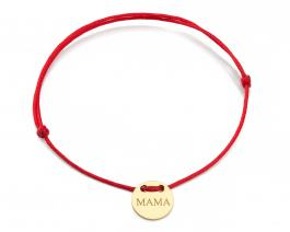 Červená šnúrka, 14kt zlato, Mama