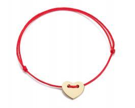Červená šnúrka, 14kt zlato, Srdce