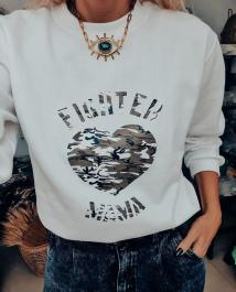 Mikina FIGHTER MAMA - biela