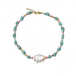 Náhrdelník MAYOL, s perlou a tyrkysom s 24kt pozlátením, La Isla Bonita