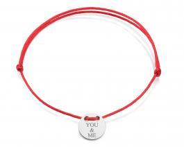 Červená šnúrka, striebro, YOU & ME