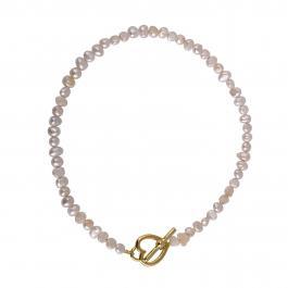 Náhrdelník MAYOL, perly s 24 kt pozlateným uzáverom v tvare srdca