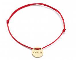 Červená šnúrka, 14kt zlato, Anjelik