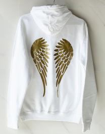 Mikina s kapucňou - ANGEL INSIDE - biela