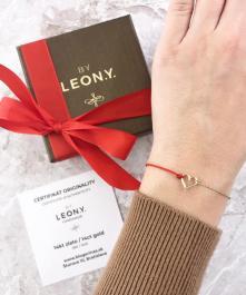 Náramok BY LEON.Y., Srdce kombinácia 14kt zlato a šnúrka