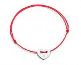Červená šnúrka, srdiečko striebro, Iniciál A - Z