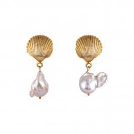 Náušnice MAYOL, s 24 kt pozlátenými mušľami a perlami - Venus