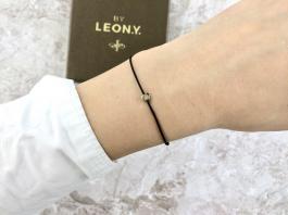 Náramok BY LEON.Y. čierny - Hematit mini Srdiečko - Gold