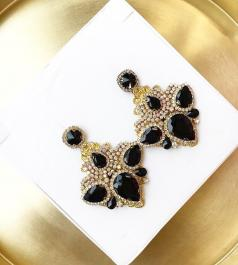 Ručne vyrobené náušnice so Swarovski čiernymi kryštálmi - Handmade in Greece