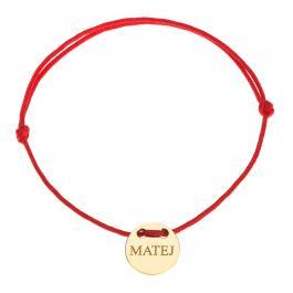 Červená šnúrka, 14kt zlato, Matej - detský, dámsky aj pánsky