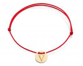 Červená šnúrka, 14kt zlato, Iniciál V