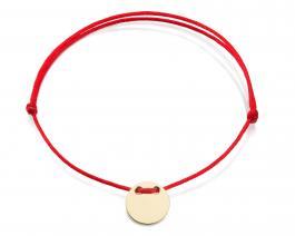 Červená šnúrka, 14kt zlato, Medajlón