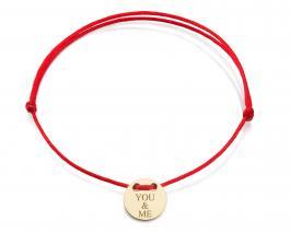 Červená šnúrka, 14kt zlato, YOU & ME