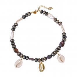 Náhrdelník MAYOL, barokové perly s 24 kt pozlátenými mušličkami, Back in Black