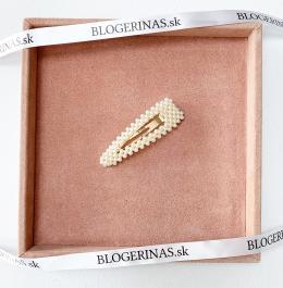 Sponka do vlasov, zlatá trojuholníková s perličkami